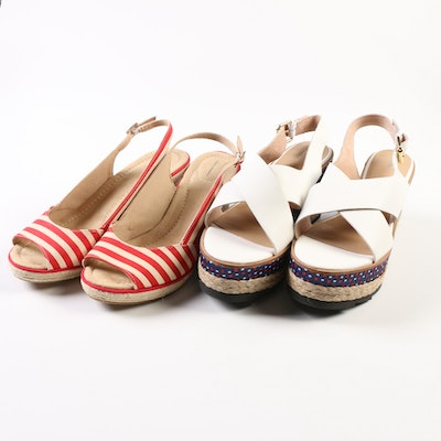 Lands' End Presley Striped and White Cross-Strap Wedge Sandals