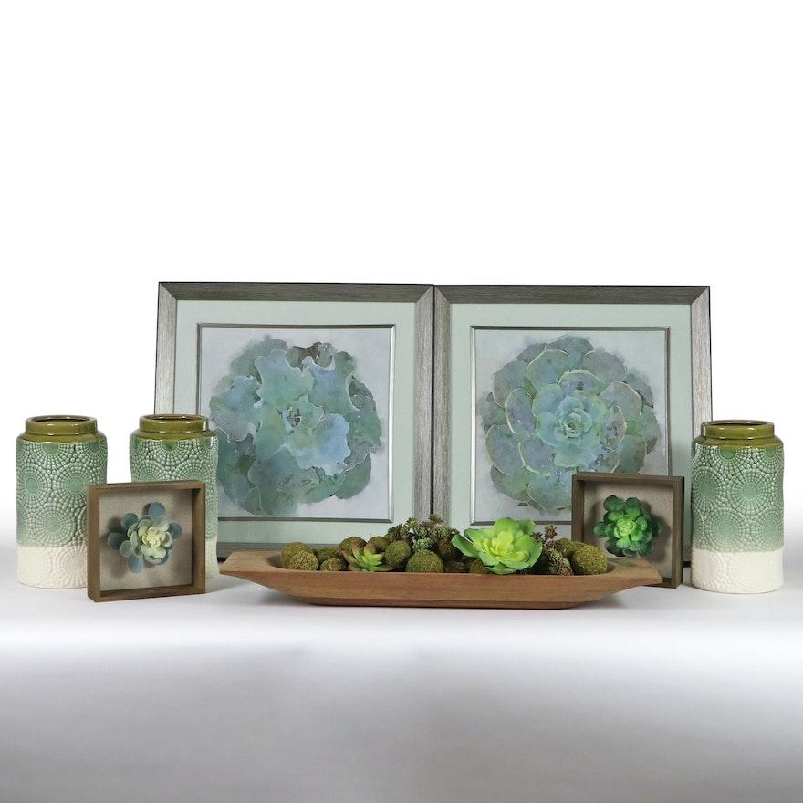 Botanical Offset Lithographs, Glazed Ceramic Vases, & Other Decor