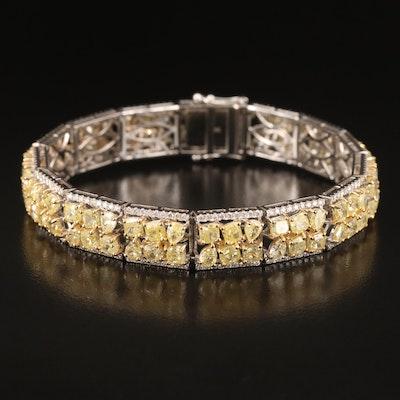 18K 22.72 CTW Yellow Diamond and Diamond Bracelet with GIA Report