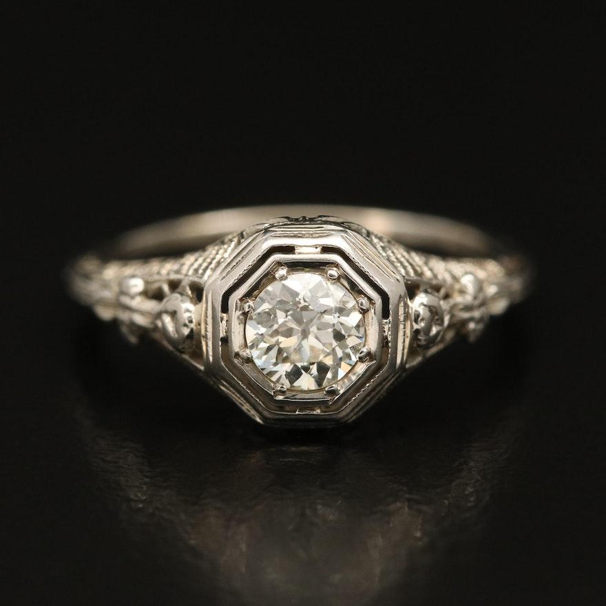 Art Deco 18K Diamond Filigree Ring