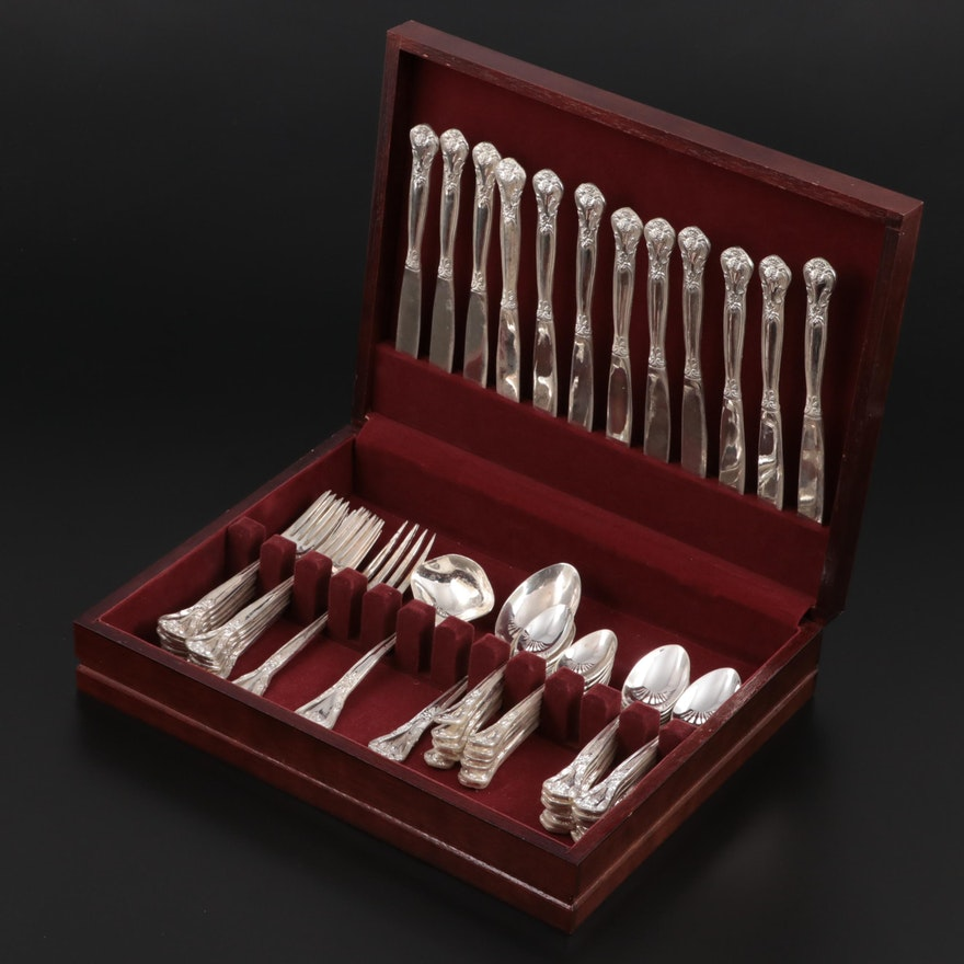 """Godinger """"Grand Master"""" Silver Plate Flatware Set with Chest"""