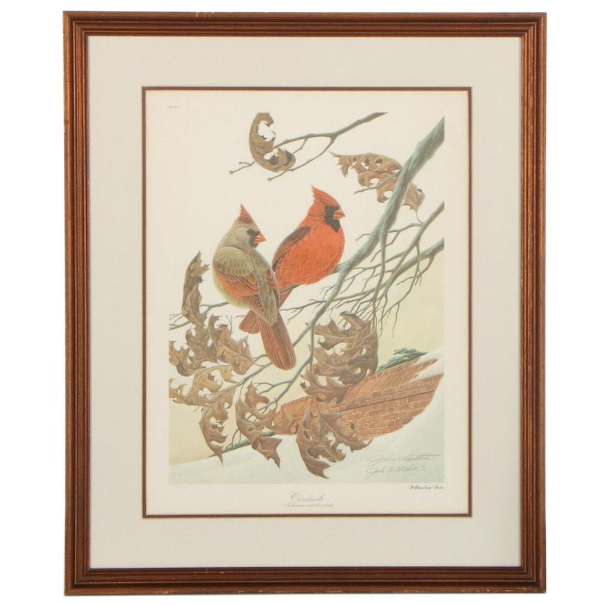 "John Ruthven Offset Lithograph ""Cardinals,"" Late 20th Century"