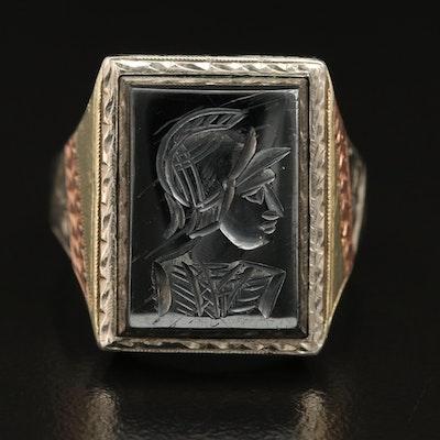 Tri-Color Vintage 14K Carved Hematite Intaglio Ring