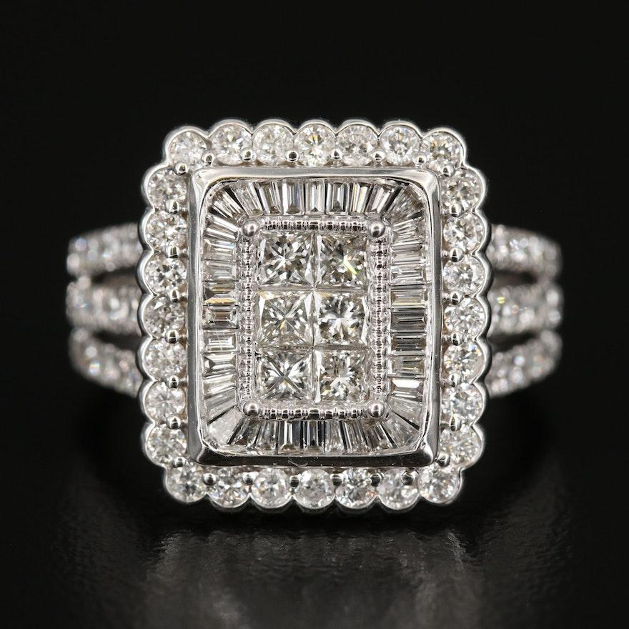 14K 1.95 CTW Diamond Rectangular Ring with Scalloped Detail