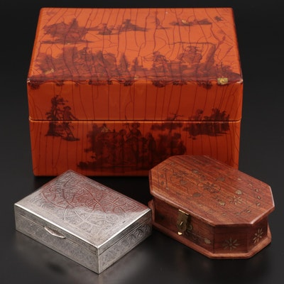 Egyptian 900 Silver Cigarette Box with Other Wood and Lacquered Boxes