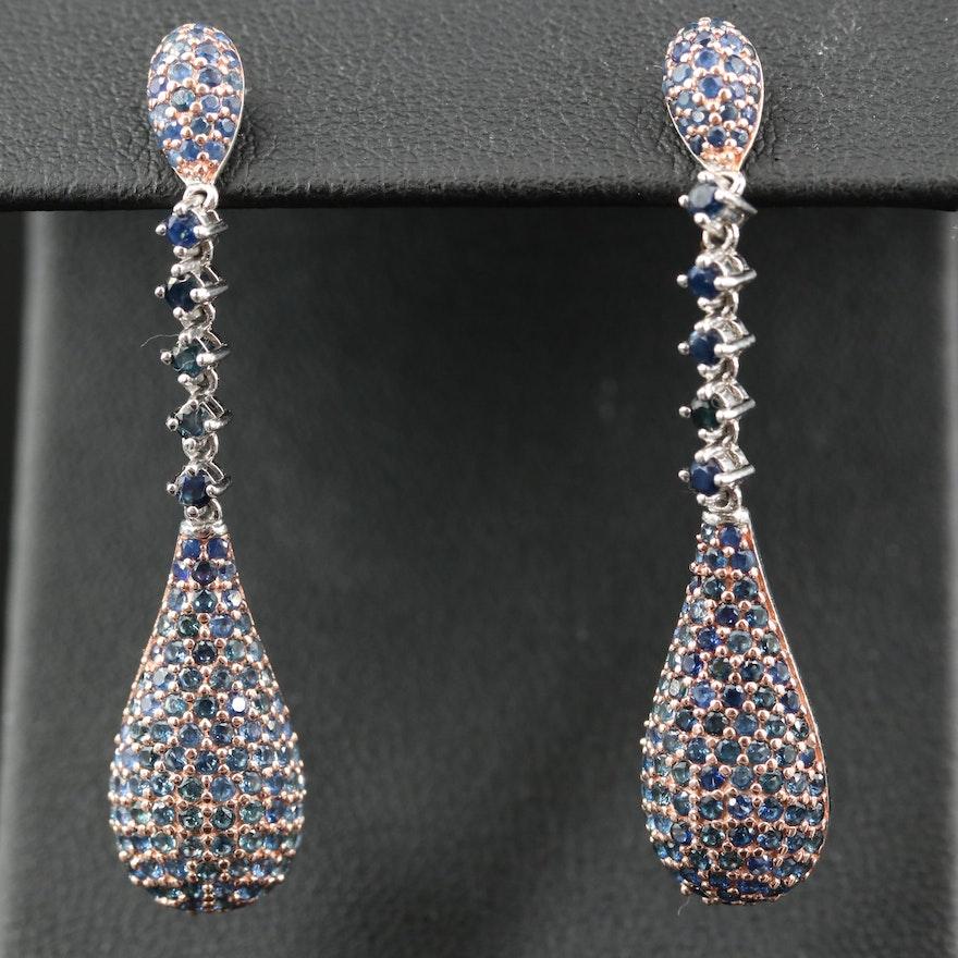 Sterling Silver Pavé Sapphire Drop Earrings