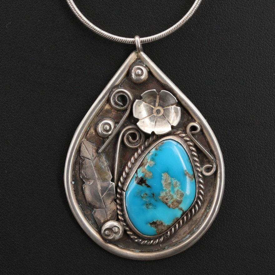 Southwestern Sterling Turquoise Pendant Necklace