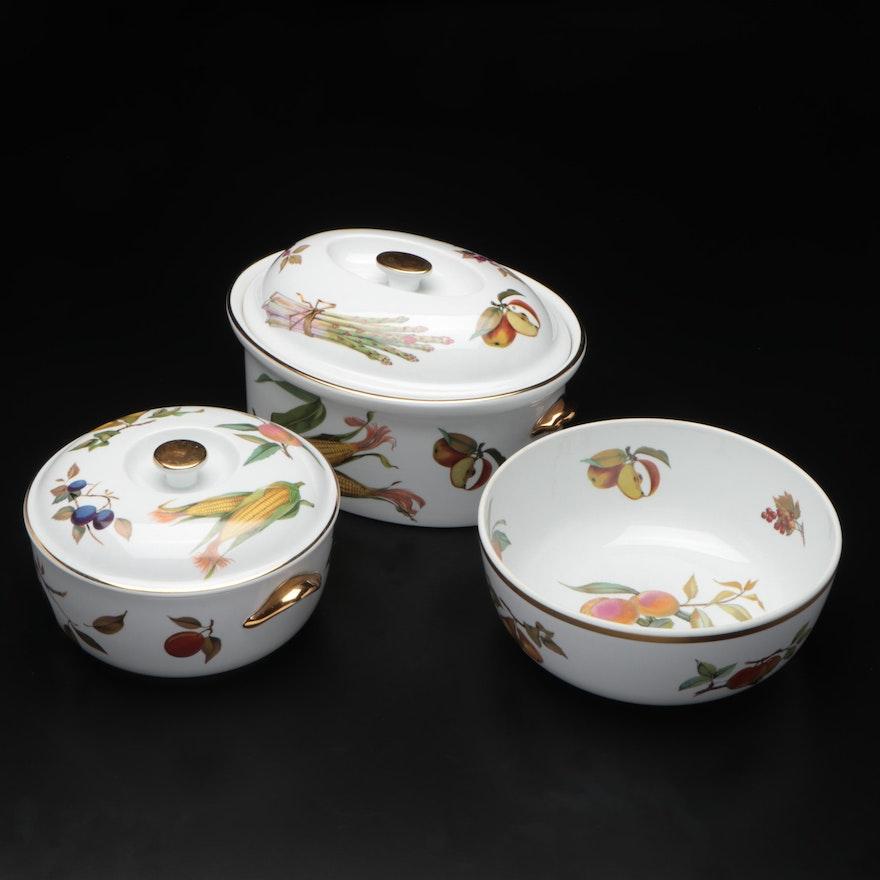 """Royal Worcester """"Evesham Gold"""" Porcelain Covered Serving Dishes and Fruit Bowl"""