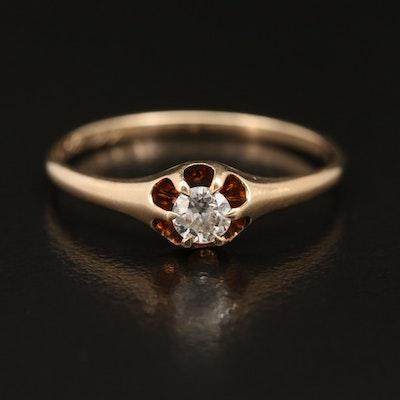 Antique 14K Diamond Belcher Ring