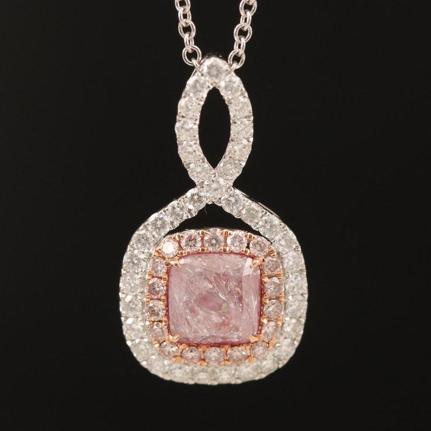 18K 2.15 CTW Diamond Pendant on 14K Chain with GIA Report