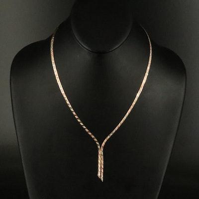 14K Tri-Color Herringbone Chain Necklace
