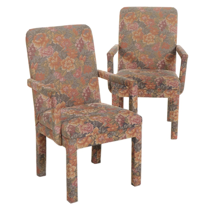 Pair of Upholstery Covered Dining Armchairs