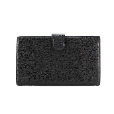 Chanel CC Black Caviar Leather Long Wallet