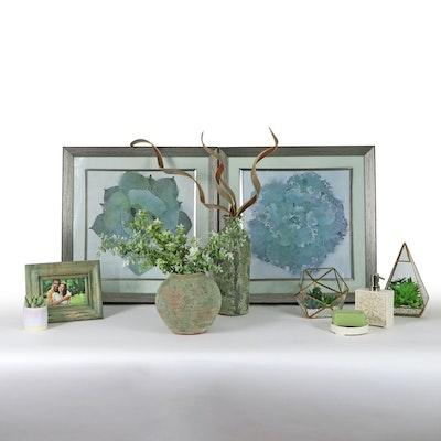 Artificial Succulent Terrariums, Uttermost Giclées, and Other Decor