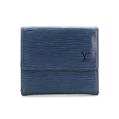 Louis Vuitton Portefeuille Elise in Myrtille Blue Epi Leather