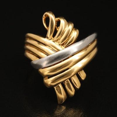 18K Ring with Platinum Accent