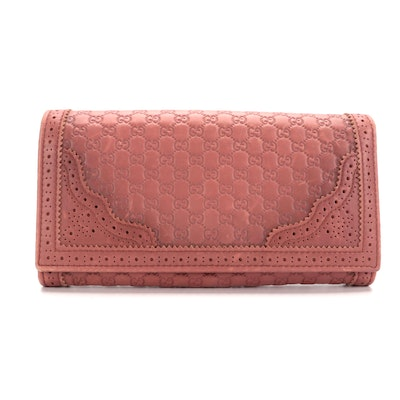 Gucci Japan Exclusive Microguccissima Perforated Pink Leather Wallet