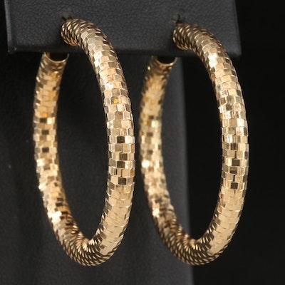 Italian 10K Textured Hoop Earrings