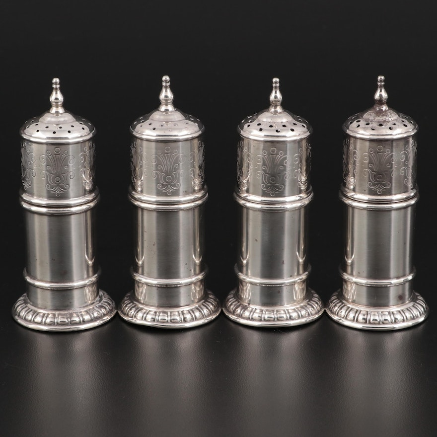 Lunt Silversmiths Sterling Silver Salt and Pepper Shakers, Early 20th Century