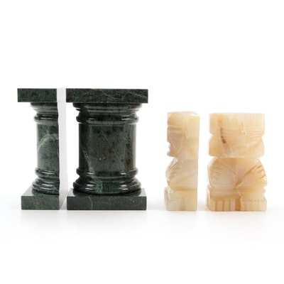 Carved Alabaster and Marble Bookends, Mid to Late 20th Century