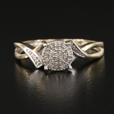 10K Diamond Ring with Twisted Shoulders