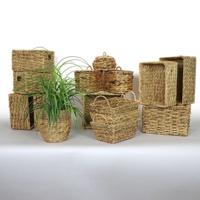 Seagrass Storage Baskets and Artificial Plant