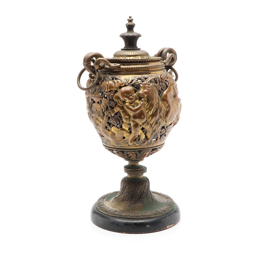 Cast Bronze Urn with Cherub and Goat Motif and Snake Handles, Late 19th C.