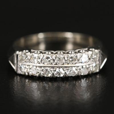 Vintage 14K Diamond Double Row Knife Edge Ring