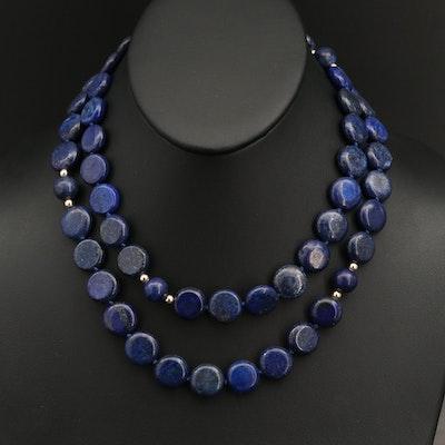 14K Round Button Lapis Lazuli Beaded Necklace