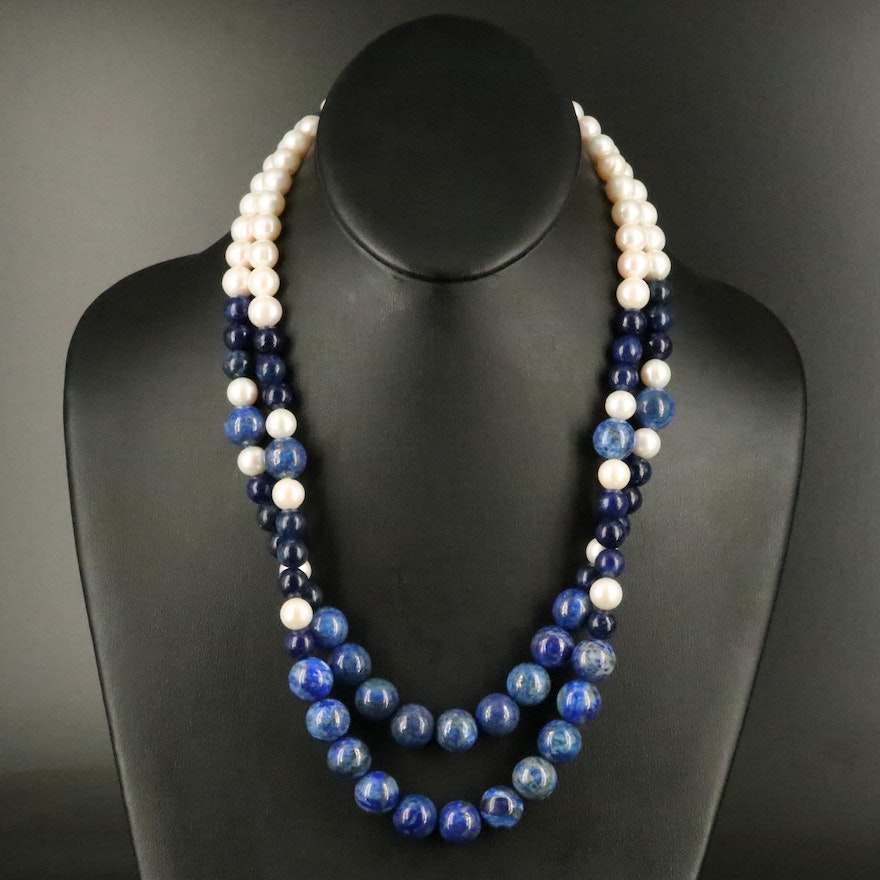 Graduated Lapis Lauzuli and Pearl Double Strand Necklace with 14K Clasp