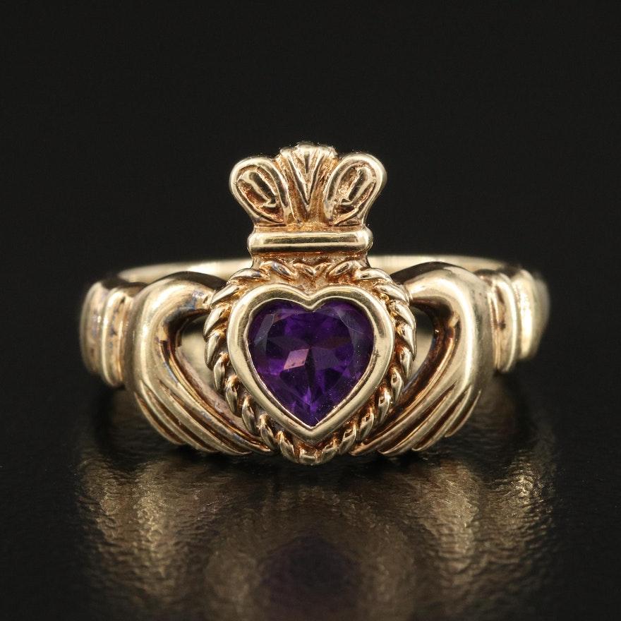 Irish 14K Amethyst Claddagh Ring