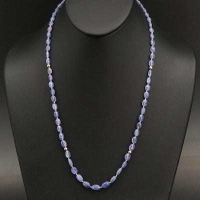 14K Tanzanite Beaded Necklace