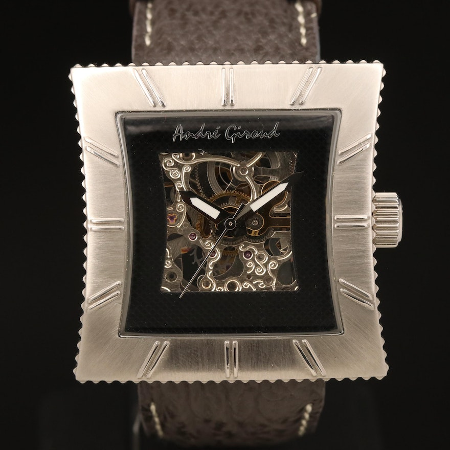Andre Giroud Skeleton Dial Stainless Steel Automatic Wristwatch