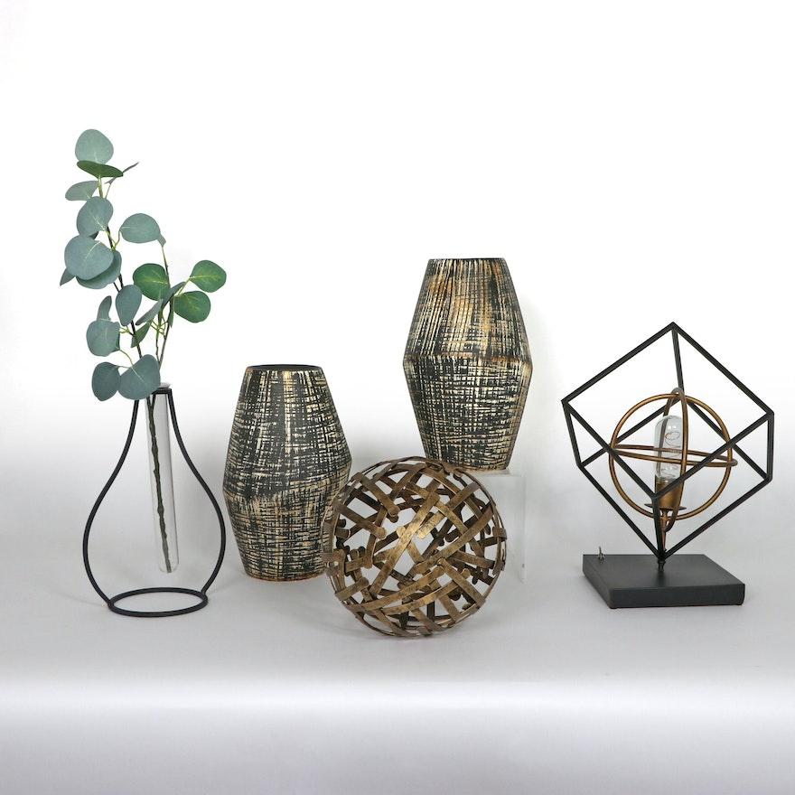 Metallic Ceramic Vases, Metal Sculpture, and Other Decor