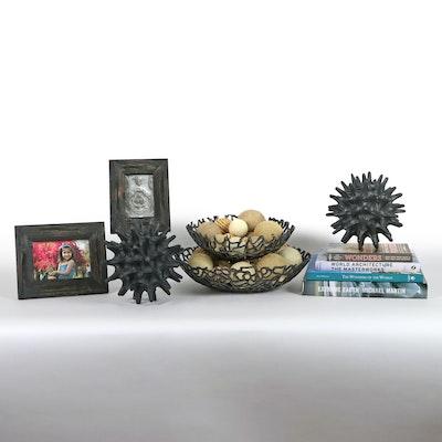 Metal Openwork Centerpiece Bowls, Metal Sculptures, Coffee Table Books, & Frames