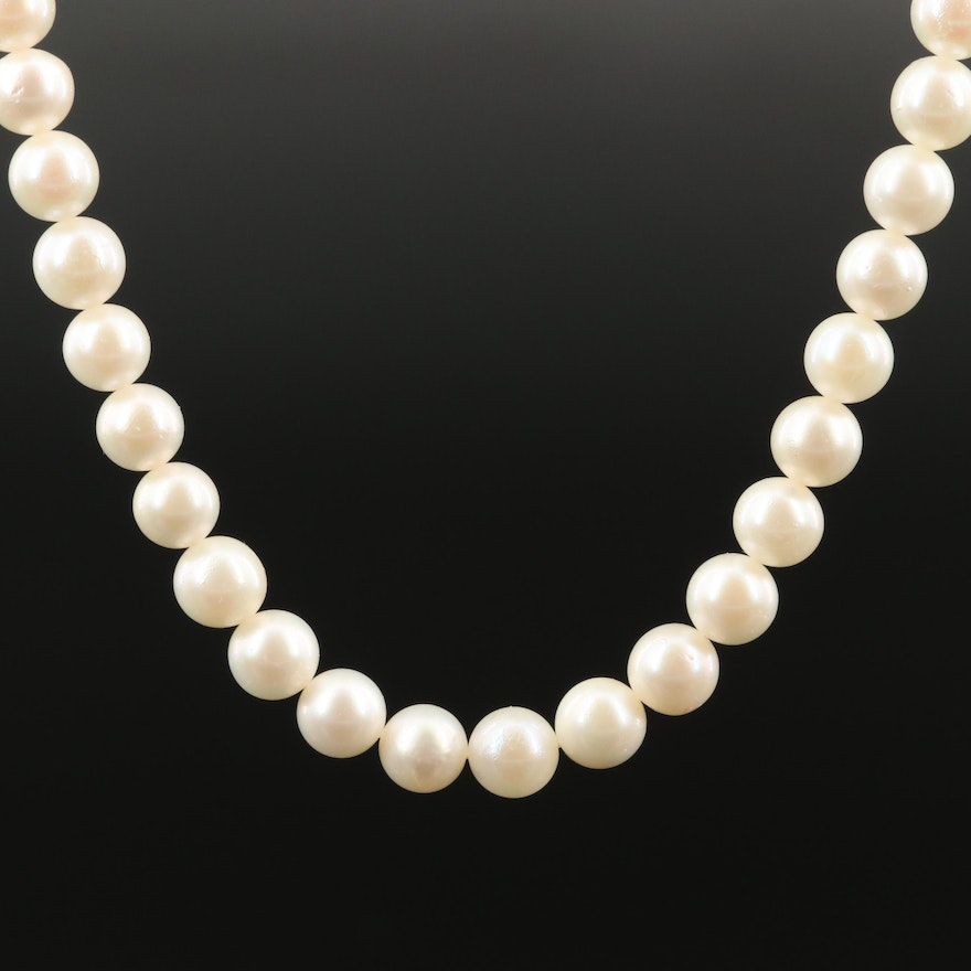 Pearl Princess Length Necklace with 10K Clasp