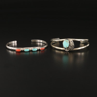 Southwestern Cuffs Including Sterling, Turquoise and Coral