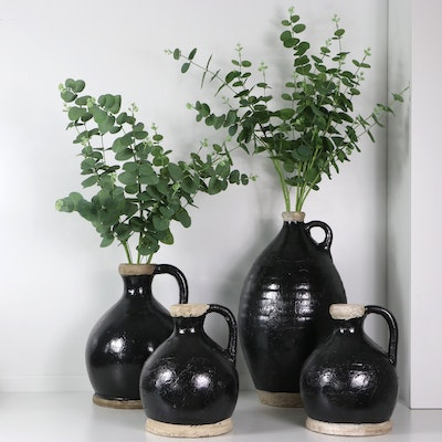 Glazed Terracotta Jugs with Artificial Plants, Contemporary