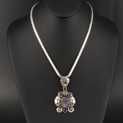 Som's Amethyst, Quartz and Tourmaline Pendant with Serpentine Chain Necklace