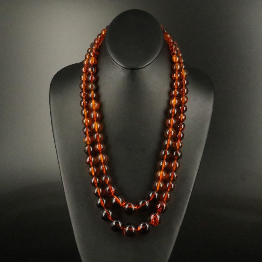 Graduated Resin Double Strand Necklace