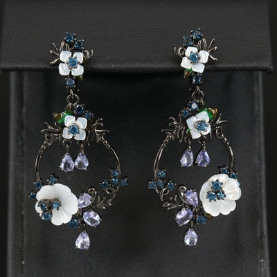 Sterling Silver Gemstone Floral Earrings with Tanzanite and Mother of Pearl