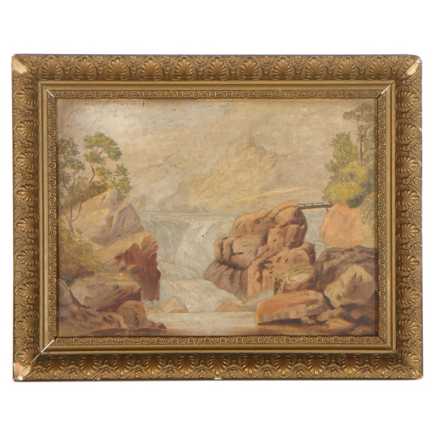 Landscape Oil Painting of Rocky Rapids, Mid-20th Century