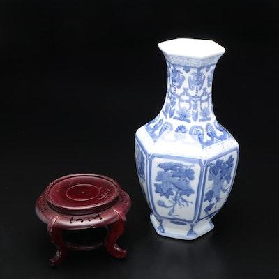 Chinese Blue and White Ceramic Hexagonal Vase