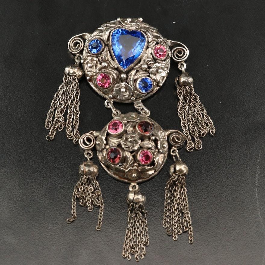 Vintage Sterling Glass Girandole Brooch