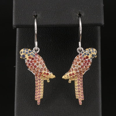 Sterling Silver Sapphire Parrot Earrings