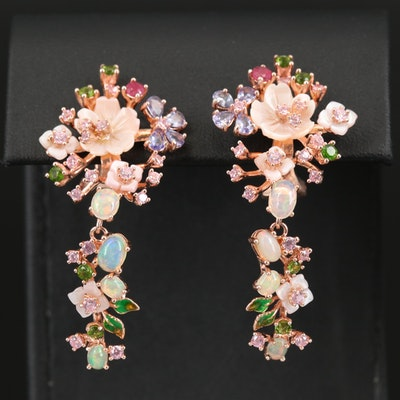 Sterling Floral Drop Earrings Featuring Opal, Tanzanite and Diopside