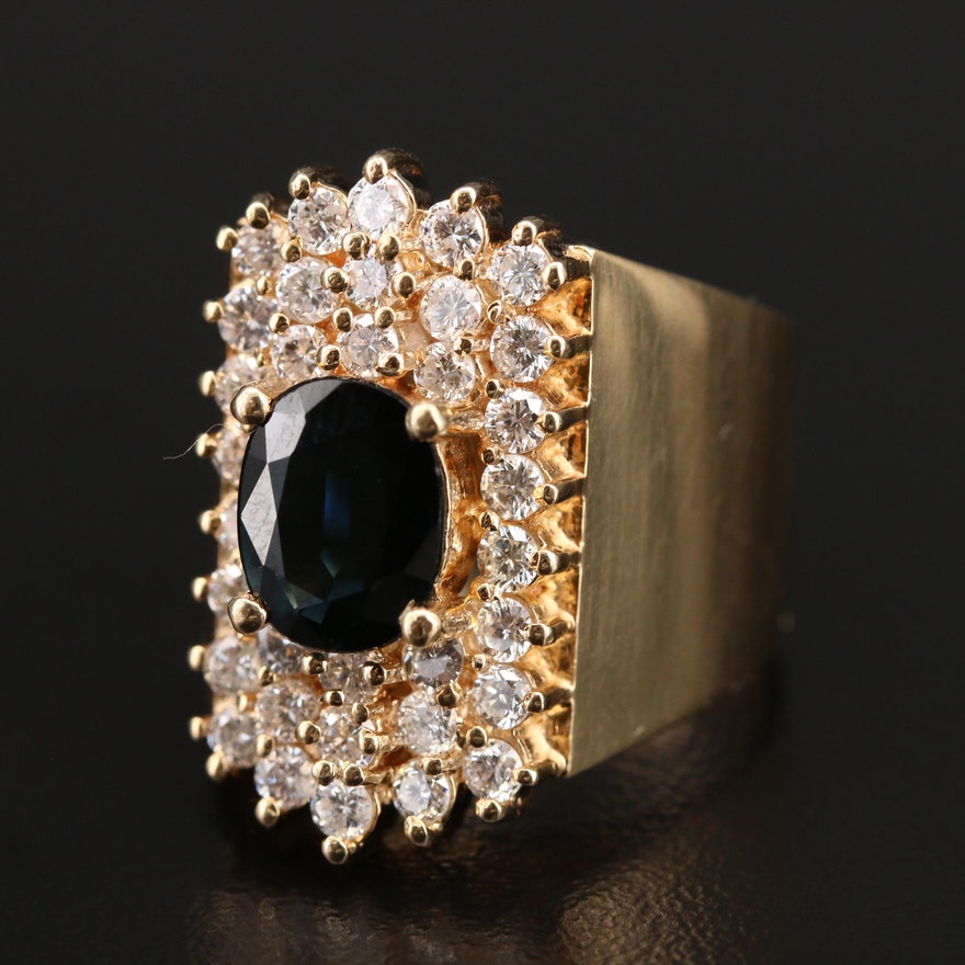 14K Sapphire and 1.36 CTW Diamond Ring
