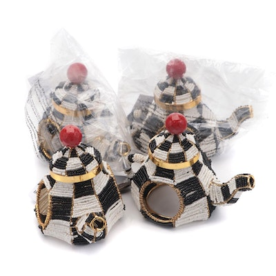 """MacKenzie-Childs """"Courtly Check"""" Tea Kettle Beaded Metal Napkin Rings"""