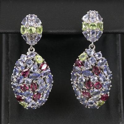Sterling Cluster Drop Earrings Featuring Tanzanite, Rhodolite Garnet and Peridot