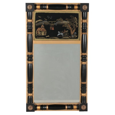 Federal Style Reverse Glass Painted Mirror, Mid-20th Century